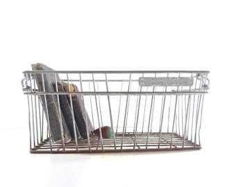 Vintage Metal Wire Crate, Industrial Storage