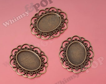 5 - Antique Bronze Oval Cabochon Settings, Bezel Cabochon Setting, Pad: 23mm x 18mm (R9-088)