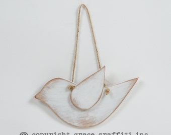 Mini Wooden Dove, Hanging  - White distressed
