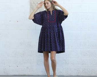 Oversized Midi Dress, Loose Fit Dress, Raglan Sleeves Dress, Casual Mini Dress, Blue Mini Dress, Blue Oversized Dress, Short Piped Dress.