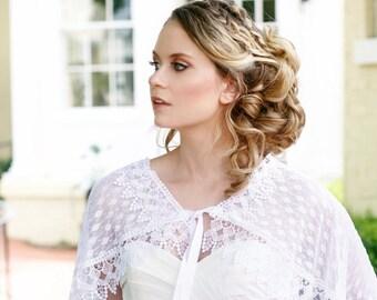 White Bridal Lace Capelet, Lace Cloak, White Lace Cape, Wedding Capelet, Bride Capelet, Bridal Coverup, White Capelet, Lace Capelet CAROLINE