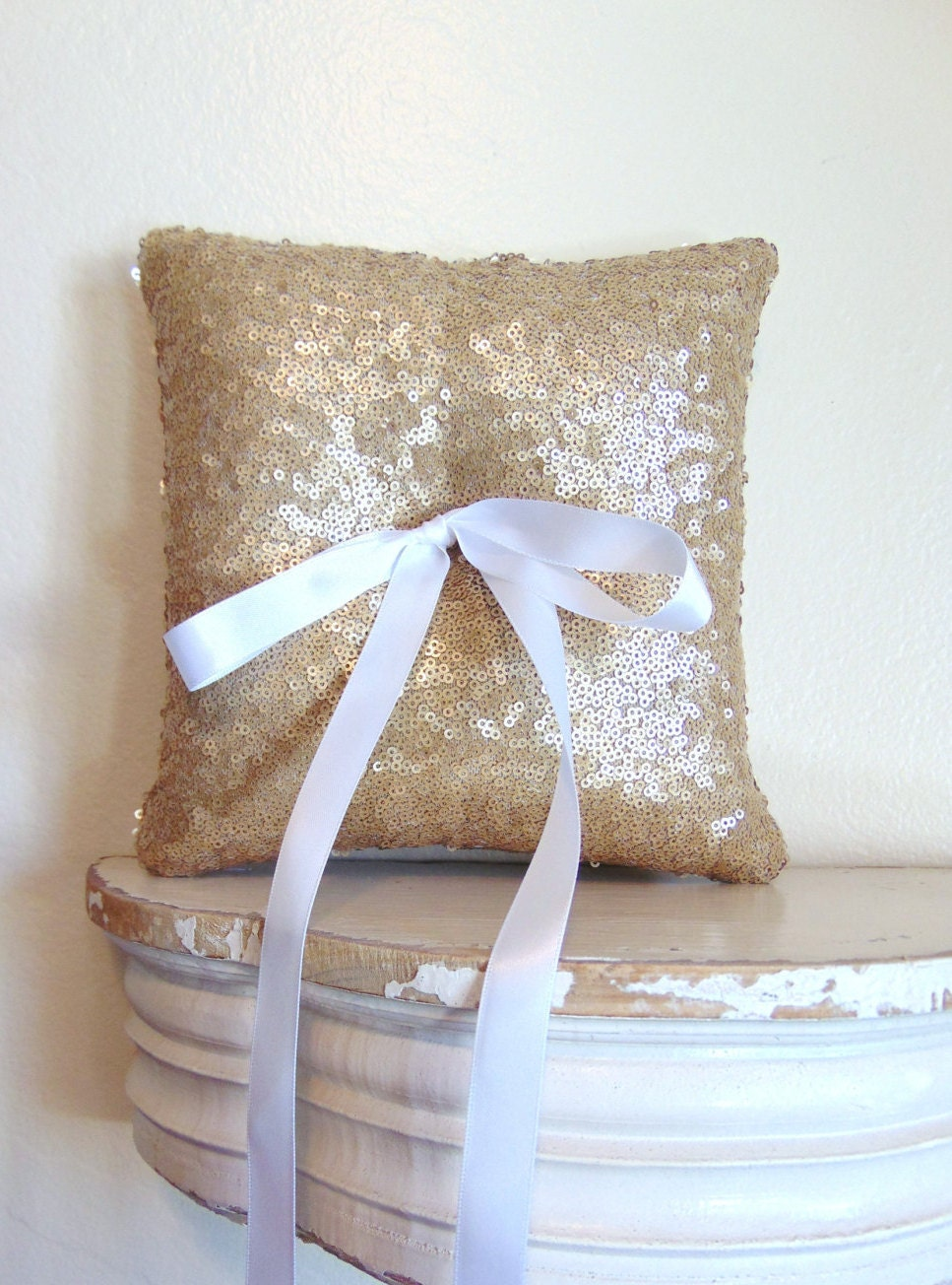 Antique Gold Decorative Pillows : Antique Gold Sequin Ring Bearer Pillow Antique Gold Ring