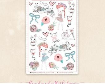 25 Boho Chic Girls, Planner Sticker, Calendar Sticker, Planner Accessories, Erin Condren, Filofax, Project Life
