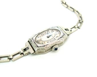 Ladies Watch. Art Deco Wrist Watch. Gruen, Swiss 14K White Gold Reinforced Metal. Sapphire Crown. Engraved, Enamel. Vintage 1920s Jewelry