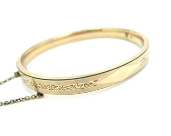 Gold Filled Bracelet. 12K Hinged Oval Bangle. Vintage 1950s Jewelry. Engraved Top. Ready to be Personalized, Stacking