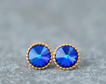 Blue Rainbow Earrings Organic Edge Studs Bermuda Blue Bridesmaid Gold Silver Brass Ball Swarovski Crystal Rainbow Stud Earrings Mashugana