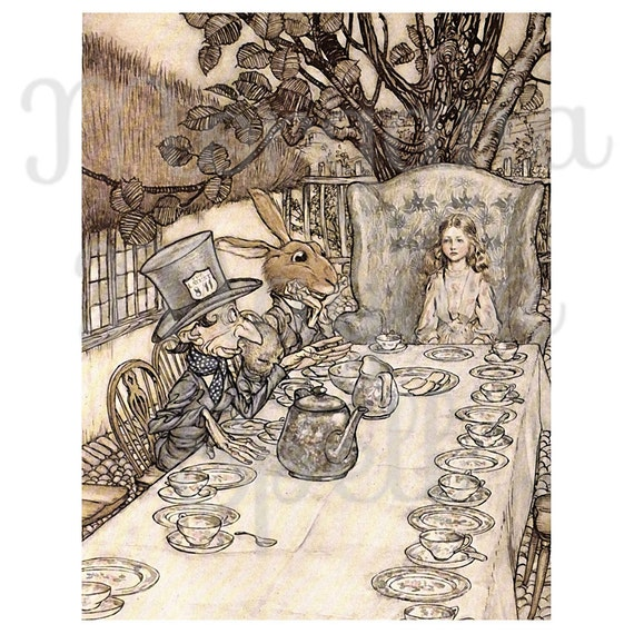 ALICE in WONDERLAND- MAD Tea Party Arthur Rackham