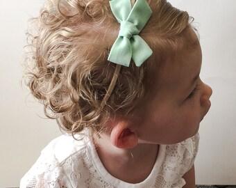 Mint Baby Bow - Mint Tied Bow Headband or Clip - Mint Pigtail Bows - Small Mint Baby Bow - Mint Bow Clip - Mint Baby Bow on Nylon Headband