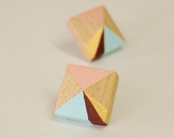 Geometric Wooden Earrings - Hand painted