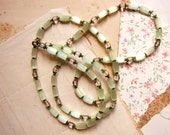 long beaded necklace - 1950s atlas satin glass beads in seafoam green - vintage costume jewelry