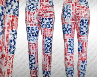 White Capri Jeggings,Custom Hand Painted USA Flag Jeggings,Fourth Of July Apparel,Patriotic Clothes,American Flag Clothing,USA Pants
