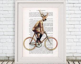 Deer Print, Bicycle Poster: Deer on Bicycle by Coco de Paris