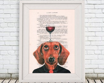 Daschund Print: Art Poster Digital Art Original Illustration Giclee Print Wall Hanging Wall Decor Animal Painting,Bulldog with wineglass