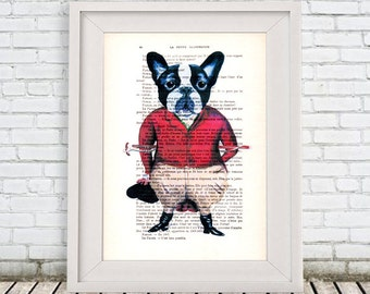 French Bulldog print, horse driver, Bulldog Gift, Frenchie print, red, bulldog poster by Coco de Paris