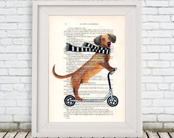Daschund Print, Kids scooter,  Poster Illustration Acrylic Painting Animal Portrait  Decor Wall Hanging Wall Art Drawing, Dog on Bicycle