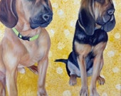 Two pets 18x24 custom pet portrait painting picture acrylic large canvas wall art Blood hound