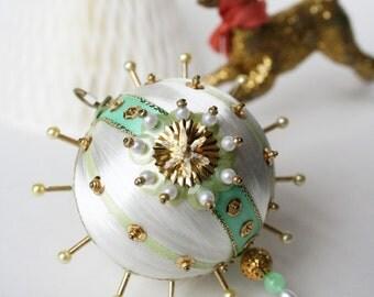Seafoam Mint Green & Glitter Gold Ivory Ornament by Distinguished Flamingo