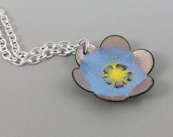 Enameled Copper Necklace, Flower Necklace, Enameled Jewelry, Metalwork Copper, Blue Jewelry, Blue Necklace