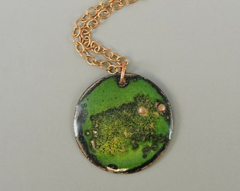 Green Enameled Copper Necklace, Copper Necklace, Metalwork Jewelry, Copper Necklace, Rustic Jewelry, Green Necklace