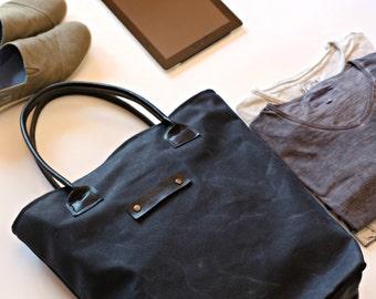 Waxed canvas tote bag - canvas tote - wax canvas bag - Boyfriend gift - husband gift - mens bag - handmade bag - Valentines gift - tote bag