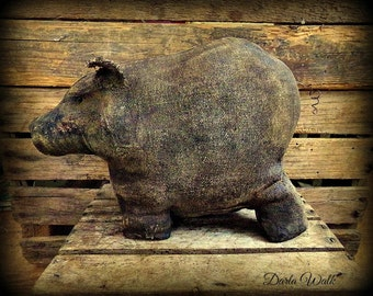 Primitive Folk art Barnyard Pig