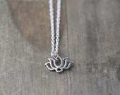 SALE Tiny Lotus Charm Necklace - Gift for Women - Sterling Silver Necklace
