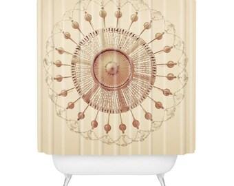 chateau versailles cream gold crystal chandelier shower curtain luxe paris guest bathroom decor