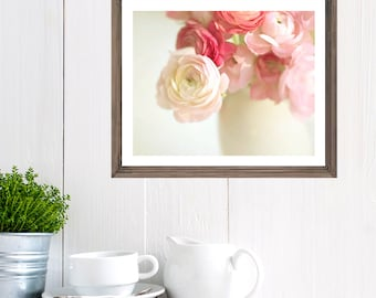 Pink Ranunculus Photo,  flower print, shabby chic, cottage home decor, still life, flowers, floral, flower photography floral artwork
