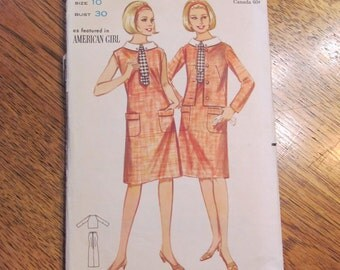 1960s Clever MOD Slimming A Line Mini Sleeveless Dress with Pockets & Matching Jacket - Size 10 - VINTAGE Sewing Pattern Butterick 3423