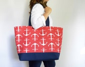EXtra Large Beach Bag, Canvas Tote Bag, Large Pool Bag, Vacation Bag, Weekender Tote, Nautical Tote Bag