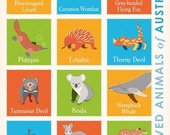 Beloved Animals of Australia retro illustrated print