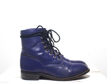 6 | Women's Vintage Purple Lace Up Roper Boot Country Western Glam
