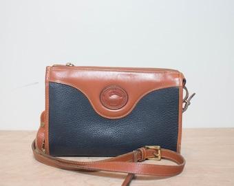 Navy Dooney & Bourke AWL Pebbled Leather Zip Top Shoulder Bag
