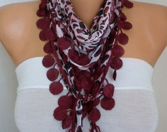 Burgundy Leopard Cotton Scarf,Summer Shawl,Bridesmaid Gift,Multicolor,Gift Ideas For Her,Women's Fashion Accessories,wedding scarf