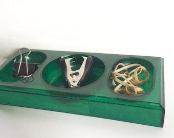 Vintage Green Lucite Desk Accessory / Plastic Desk Organizer / Desk Tray /  Key Trinket Holder