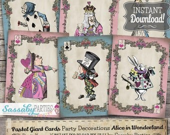 Alice in Wonderland Pastel Giant Cards / INSTANT DOWNLOAD / Printable Birthday / Baby Shower / Party Decoration / Decor / Deck / Mad Hatter