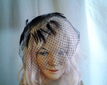 1950's Hat Vintage Black Net Hat with Feathers Netting Fascinator Cocktail Hat Veiling