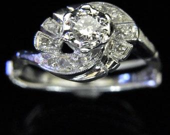 Vintage Diamond 14k White Gold Engagement Promise Ring Adjustable Shank Mid Century