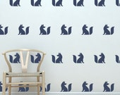 Cute Fox Silhouette vinyl decals  | Set of 20 | Make Your Own Removable Vinyl Fox Wallpaper