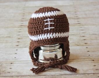 Crochet Football Hat, Baby Football Hat, Child's Football Hat, Adult Football Hat, Crochet Sports Hat, Crochet Earflap Hat, Baby Shower Gift