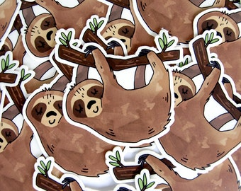 Sleeping Sloth Sticker -  Vinyl Stickers / Sloth Gift / Laptop Sticker / Illustrated / Large Sticker / Die Cut