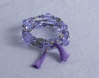 Purple Memory Wire Bracelet w/ Swarovski Crystals and Czech Glass