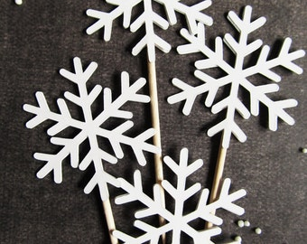Snowflake Cupcake Toppers, Winter Wonderland Party Decor, Christmas, Holiday, Weddings, Showers, Birthdays, White, Set of 18