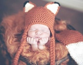 Crochet Fox hat and diaper cover for baby photo prop
