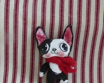 Tiny Boston Terrier cloth doll , Tuxedo Boston , Boston Puppy doll , Gift for  Boston terrier lover , Boston terrier