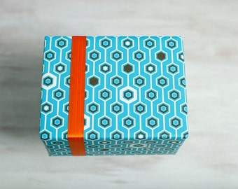 Blue Hexagon Recycled Gift Wrap, Geometric Wrapping Paper, Eco Luxe Gift, Made in the USA, Turquoise Blue, Hanukkah, Everyday Gift Wrap