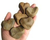 6 Heart Shaped Rocks - Natural River Stones - Valentines Day, Wedding, Engagement Party Decor