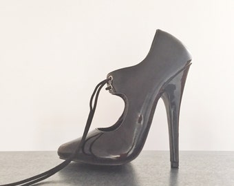 """Pleaser Domina Oxford Fetish Pump Size 5 Black Patent Leather Vegan Pointy Toe Lace Up Black Witch Exotic Fetish Erotic Spike Heel 5.5"""" Heel"""