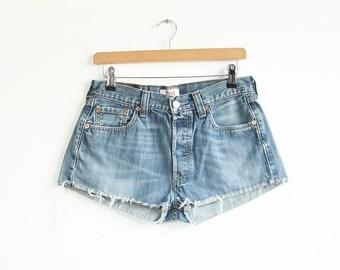 Vintage blue denim cut off shorts