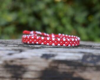 Christmas friendship bracelet, red friendship bracelet, polka dot friendship bracelet, cotton bracelet, minnie bracelet (ready to ship)